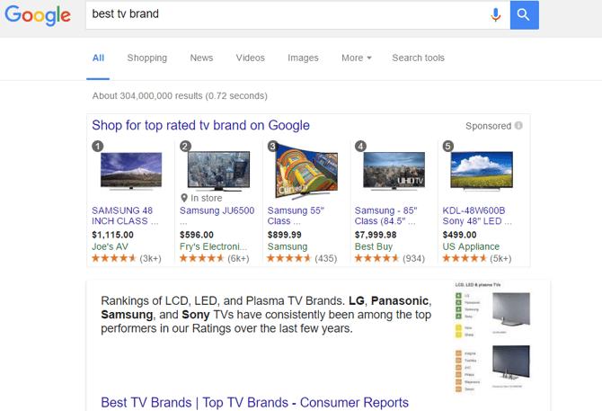 Voorbeeld van een Best of Top advertentie in Google Shopping