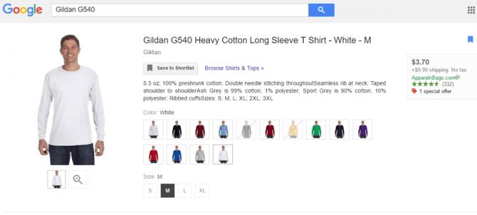Voorbeeld Jackpot advertentie Google Shopping inclusief varianten