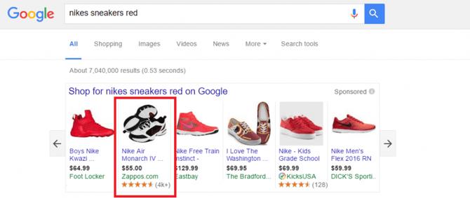 Voorbeeld van een product afbeelding in Google Shopping