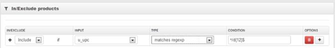 Sluit alleen producten in je Google Shopping feed in die een 12-cijferige UPC hebben met Regular Expressions