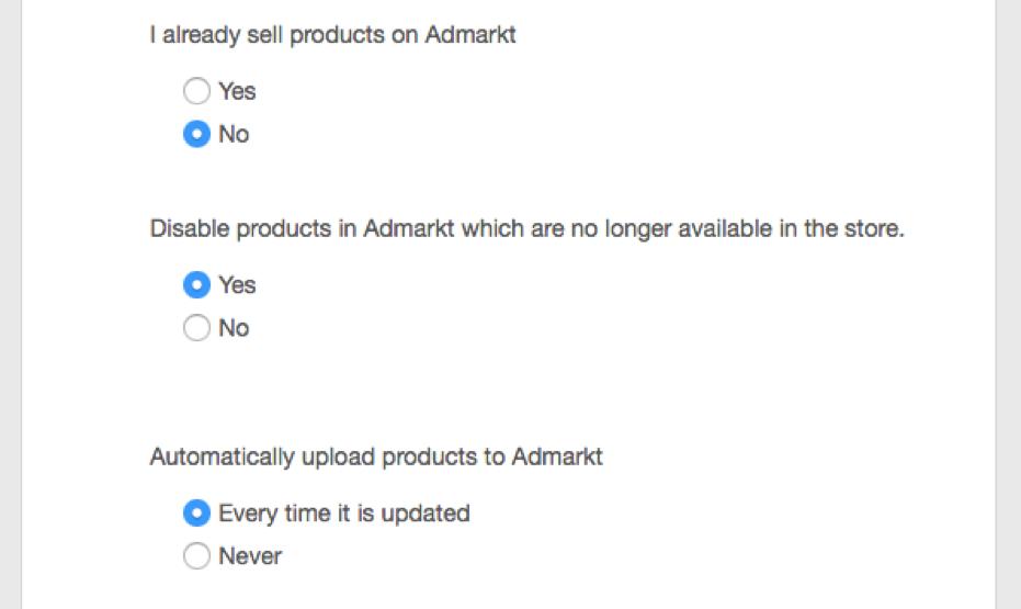 AdMarkt feed upload settings