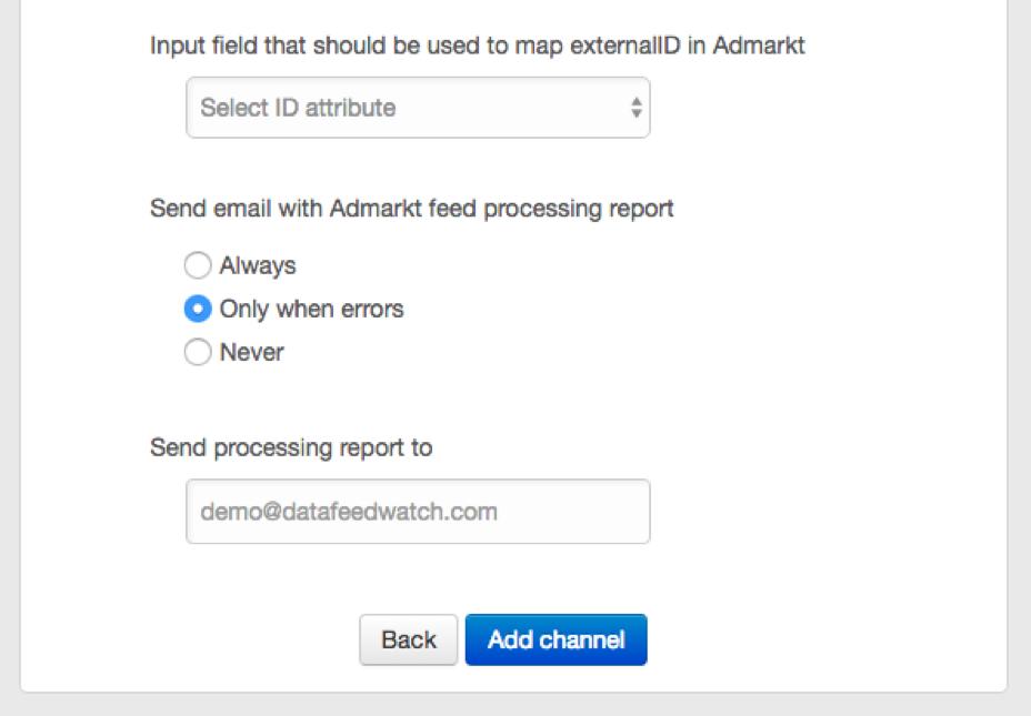 AdMarkt verwerkings rapport instellingen