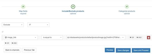 DataFeedWatch uitsluiten bij geen algemene afbeelding Google Shopping