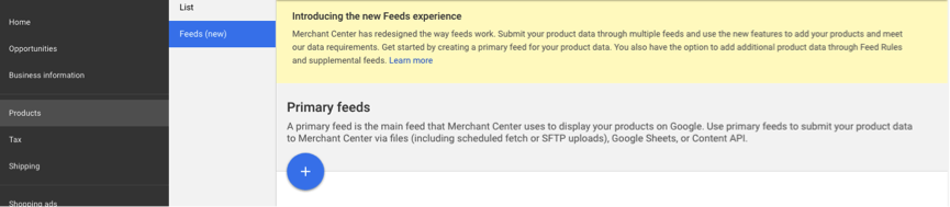 Google Merchant Center Primaire Feed.