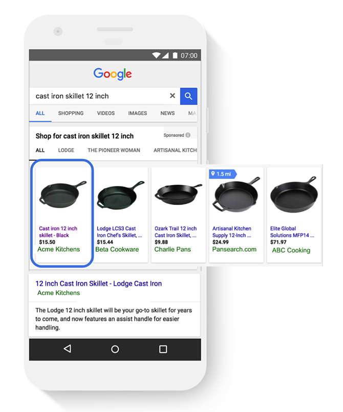 Google Shopping Top Spot Impressie.