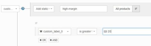 Google Shopping custom labels onderverdelen op basis van marge met DataFeedWatch regels