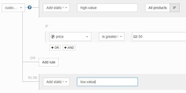 Google Shopping custom labels onderverdelen op basis van prijs met DataFeedWatch regels