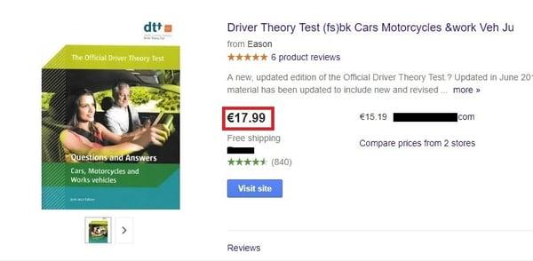 Google Shopping auto rijles theorie prijs vergelijking