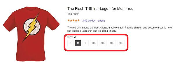Google Shopping product maat varianten