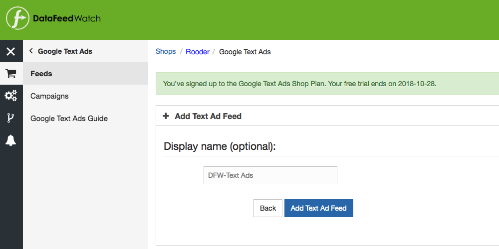 Feed setup voor Text Ads